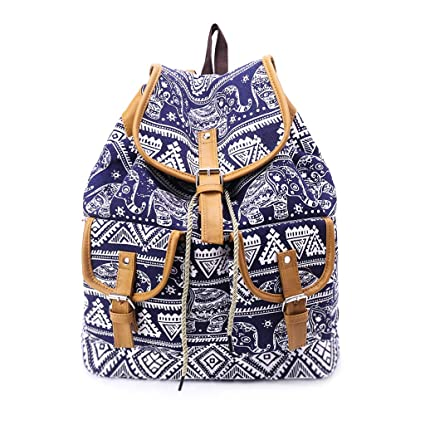 5f5952375 Amazon.com: JAGENIE Vintage Canvas Drawstring Bag Elephant Printing Backpack  Travel School Rucksack: Home & Kitchen