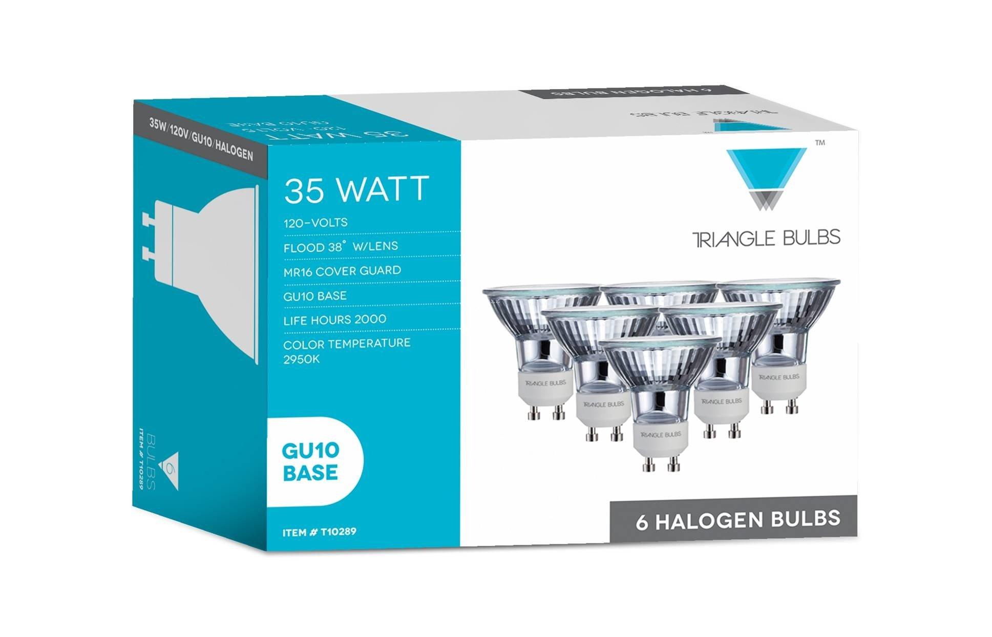 Triangle Bulbs T10289-6 (6 pack) - Q35MR16/FL/GU10, 35 Watt, MR16 With UV Glass Cover, 120 Volt, GU10 Base, Halogen Flood Light Bulb, 6 Pack