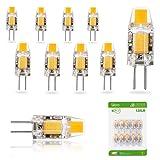 Liqoo 10er G4 LED 1,2W Lampe Birne, high Power COB Chip gleichmäßige Beleuchtung, 107D Kapazitanz inkl.IC, hohe CRI 83Ra, super mini Ø 9,6mm 2800K Warmweiß, 120LM Ersetzt 10W Halogenlampe AC DC 12V Abstrahlwinkel 260º