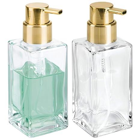 mDesign Juego de 2 dispensadores de espuma – Elegante dosificador de jabón en espuma de cristal