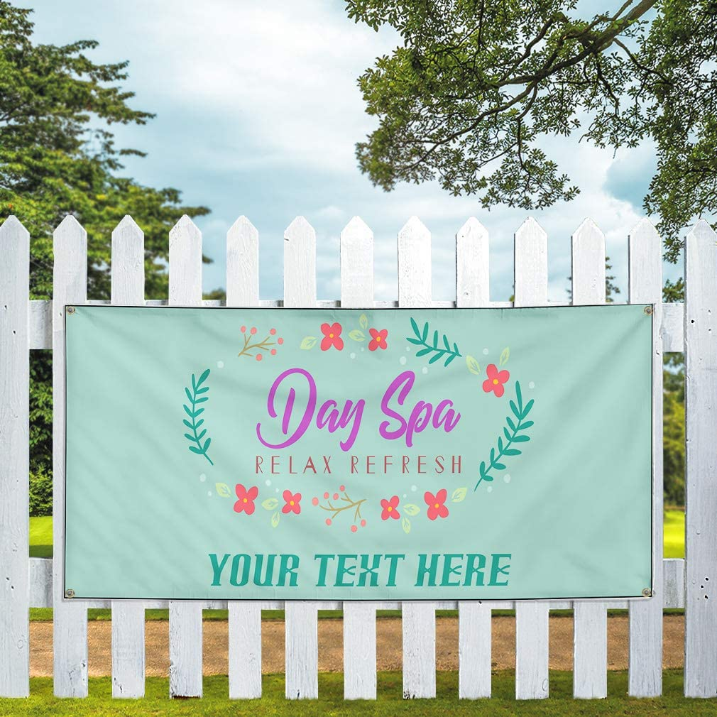 Custom Industrial Vinyl Banner Multiple Sizes Day Spa Relax Refresh Personalized Text Business Outdoor Weatherproof Yard Signs 10 Grommets 60x120Inches