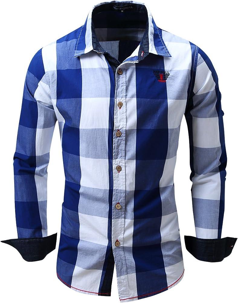 Hombre Camisa A Cuadros Manga Larga Personalidad Slim Fit Casual Franela Compruebe Camisa Tops Shirts Azul X-Small: Amazon.es: Ropa y accesorios