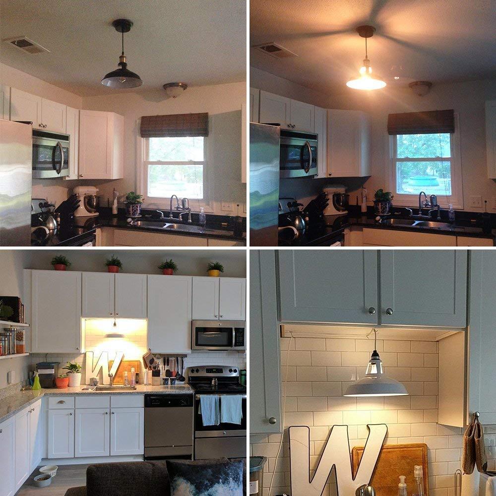 B2ocled 1-Light Pendant, Retro Industrial Pendant Lighting, Black Paint, Metal aluminum, 12 inch diameter, Ceiling Lights