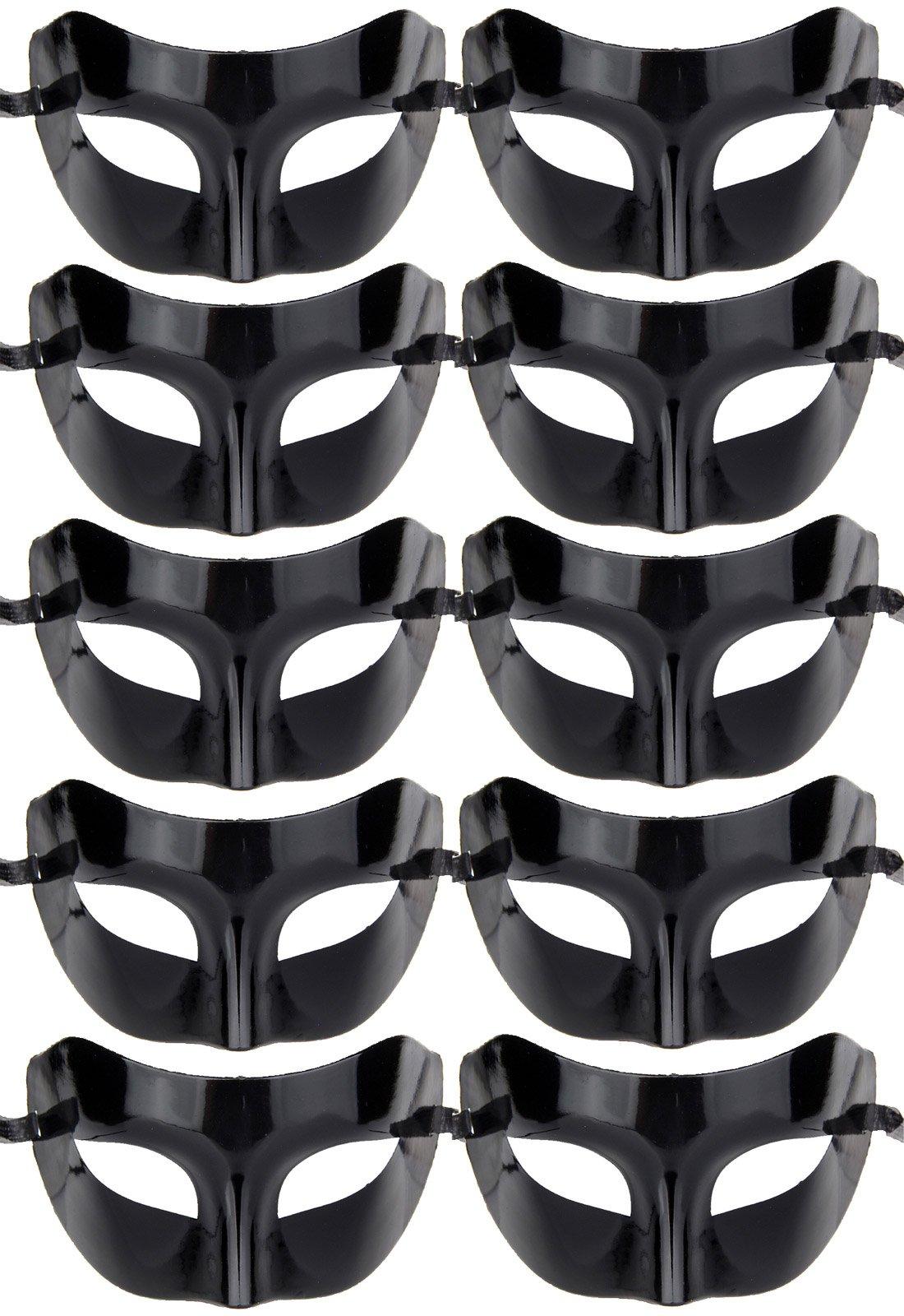 IETANG 10pcs Set Mardi Gras Half Masquerades Venetian Masks Costumes Party Accessory (Set A-Black)