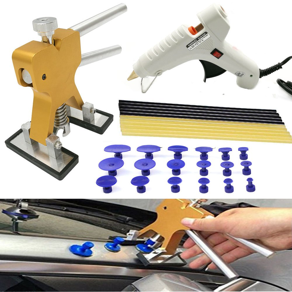 Eagle PDR Tools Paintless Dent Repair Puller Kits 30pcs with Dent Lifter, 18Pcs PDR Glue Tabs,12V Car Hot Glue Gun And 10pcs Hot Glue Sticks