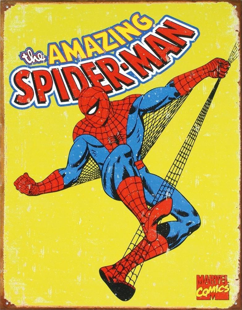 Spider-Man Marvel Comics Distressed Retro Vintage Tin Sign - 13x16 Poster Revolution TSN1437