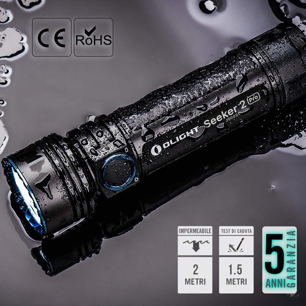 Ideale per Outdoor e Uso in Casa 5 Modalit/à di illuminazione Impermbile 2 M Distanza Max di Luce  fino al 250 Metri Olight Seeker 2 PRO Torcia Ricaricabile 3200 Lumen Torcia Potente con 3 LED CW