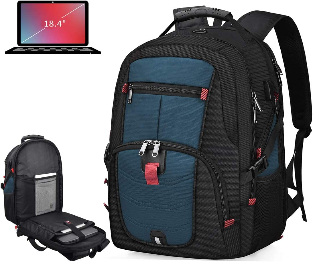 Laptop Backpack 18.4 Inch Waterproof Extra Large TSA Travel Backpack Anti Theft College School Business Mens Backpacks with USB Charging Port 17.3 Gaming Computer Backpack for Women Men Blue