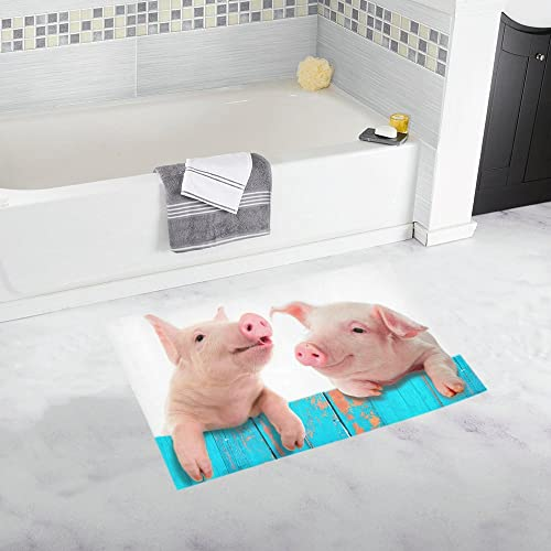 INTERESTPRINT Funny Pigs Animal Decor Non Slip Bath Rug Set Absorbent Floor Mats for Bathroom Tub Bedroom Large Size 20 x 32 Inches