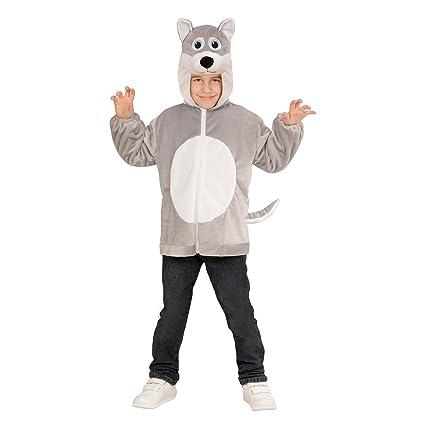 WIDMANN 97442 - felpa infantil del traje de lobo, chaqueta con capucha y máscara, gris, tamaño 104