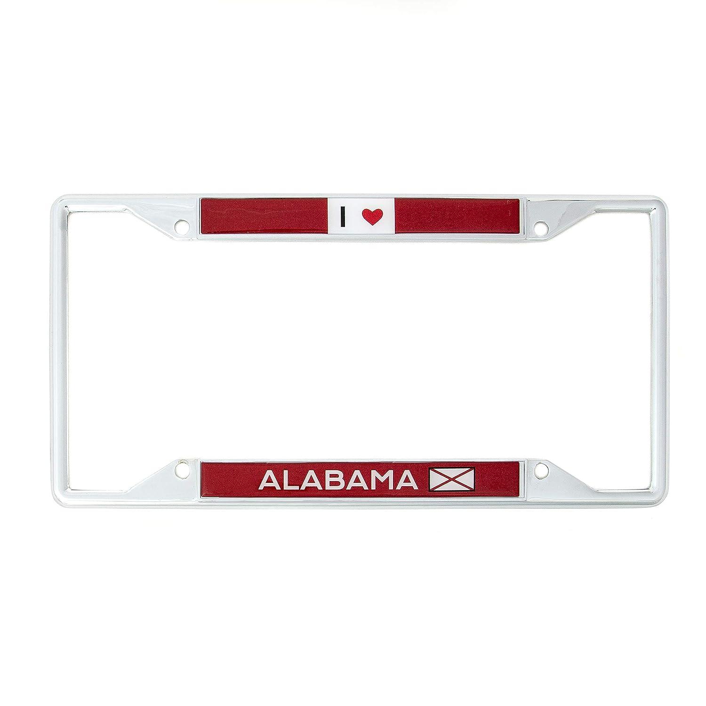 Desert Cactus State of Alabama I Heart Love License Plate Frame for Front Back of Car Vehicle Truck