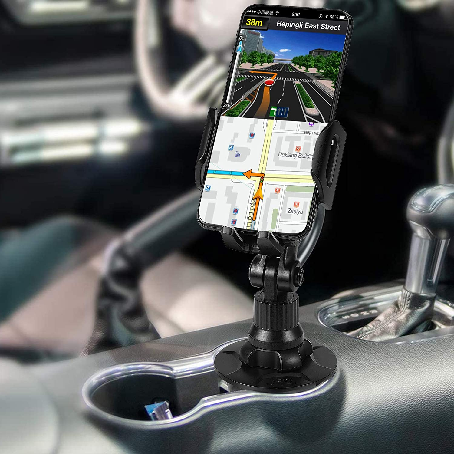 YvchuL Car Cup Phone Holder Upgrade Cell Phone Cupholder Cradle Mount Universal Phone Holder for Car 360/° with Extendable and Adjustable Arm