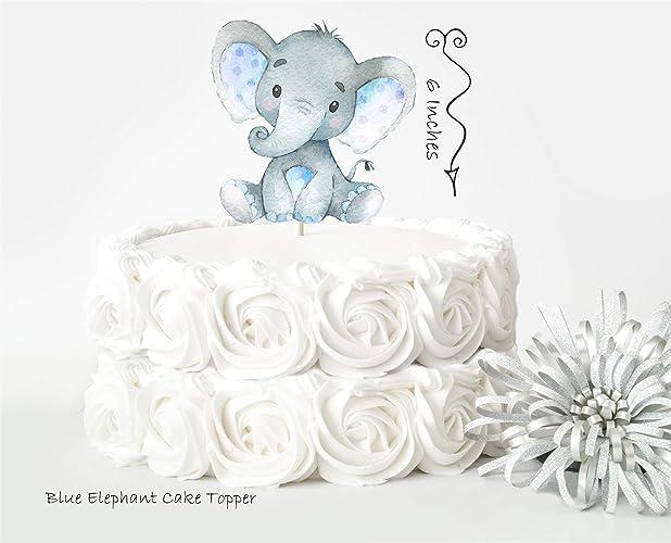 Amazon Blue Elephant Cake Topper Elephant Baby Shower Decor
