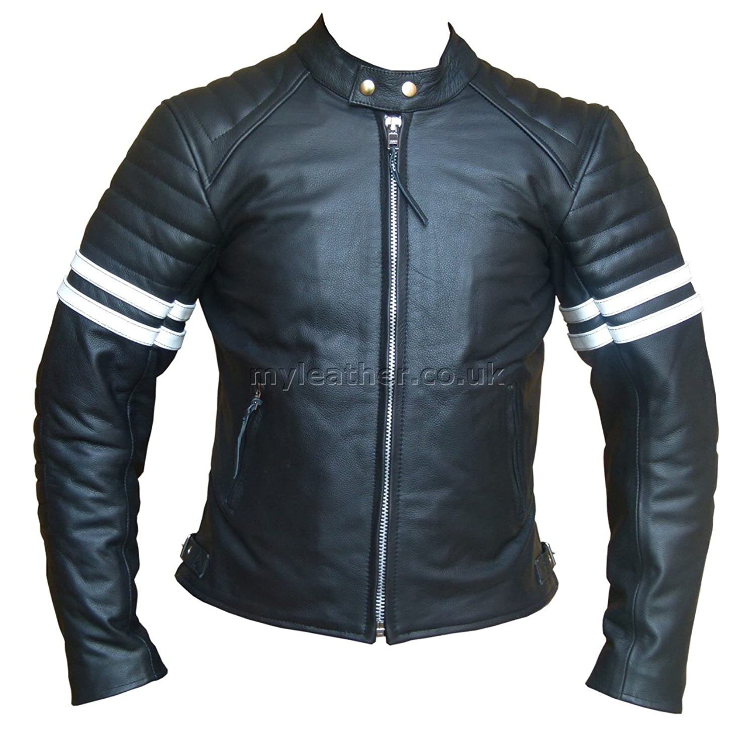 Fight Club 2 White Striped Cafe Racer Style Retro Leather Jacket