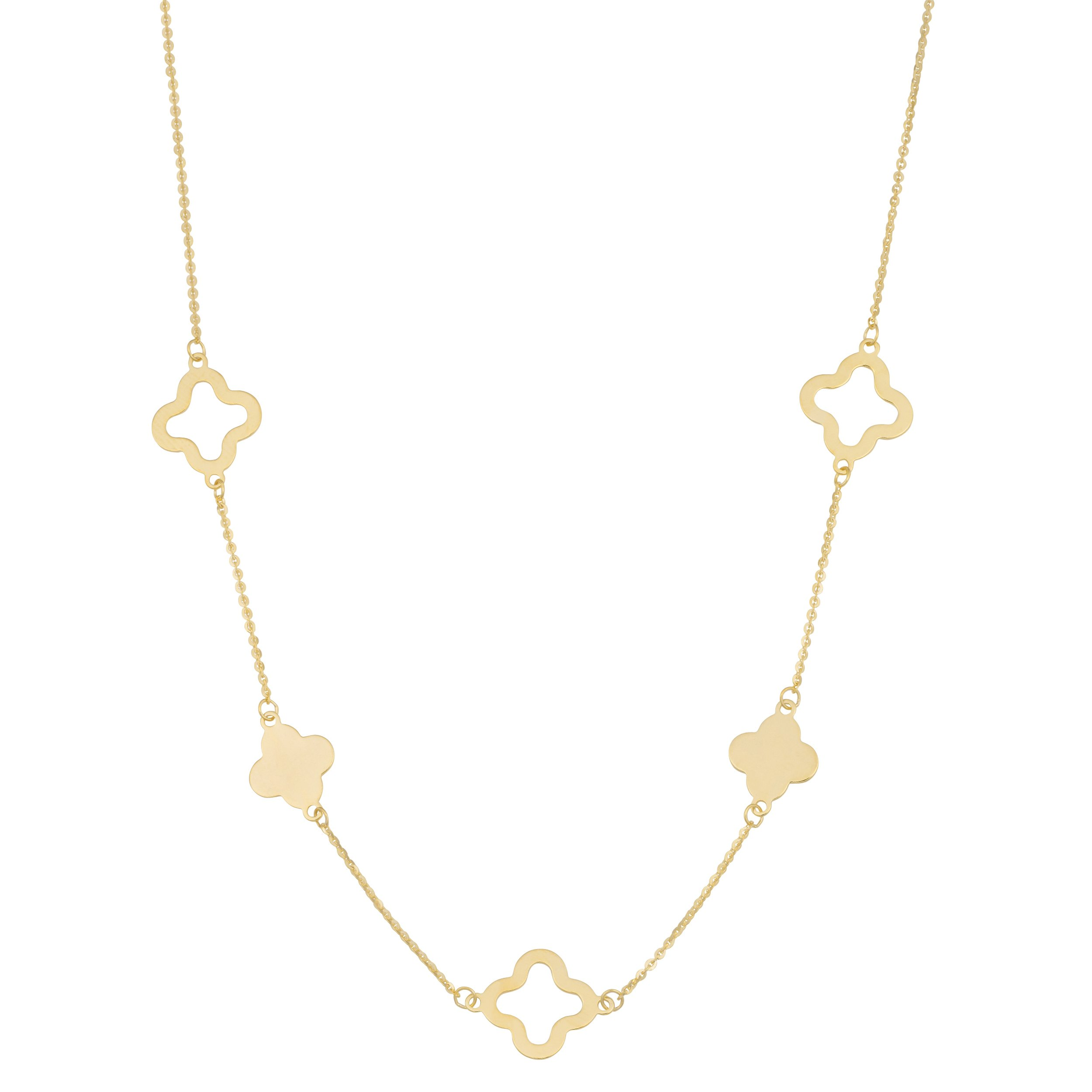 14k Yellow Gold Clover Station Necklace (18 inch) by Kooljewelry