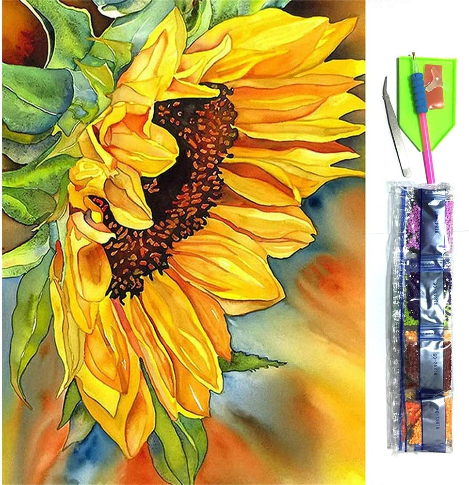 DIY 5D Diamond Painting Kits for Adults Kids Full Drill Rhinestone Pasted Colorful Sunflowers Arts Crafts for Home Wall Decor, 11.8 x 15.7Inch
