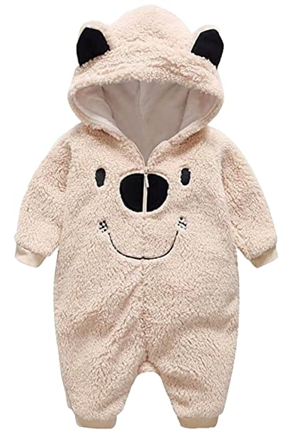 5ad0ec587 Amazon.com: UNIQUEONE Newborn Boys Girls Cartoon Bear Hooded Romper Fleece  Thick Warm Jumpsuit Snowsuit: Clothing