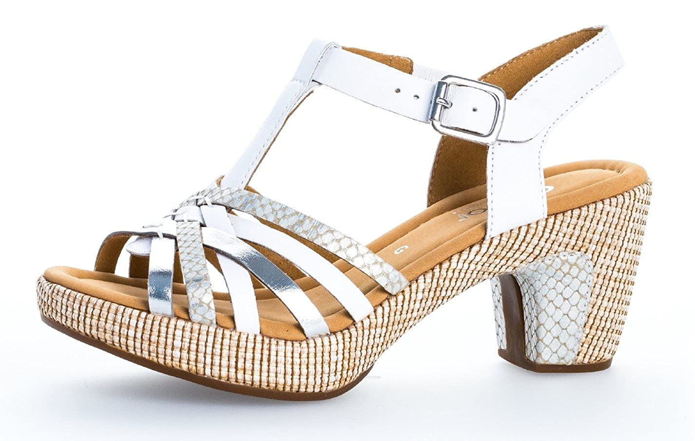 Weiß Gabor Damen Sandaletten 22.736, Frauen Sandaletten, Sommerschuhe, Absatzschuhe
