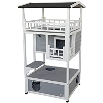 "Petsfit 31"" L x 30"" W x 56"" H Outdoor Cat Shelter, Cat House/Condo, Ideal Cat Shelter, Weatherproof Cat House with Three Floors"