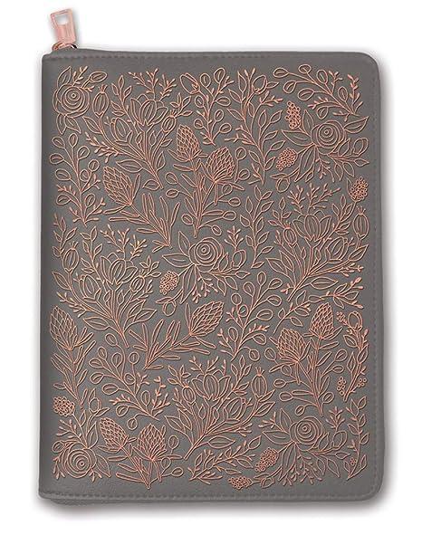 Orange Circle Studio 2020 Leatheresque Zip-Around Folio + Agenda Set, August 2019 - December 2020, Floral Vines Gray