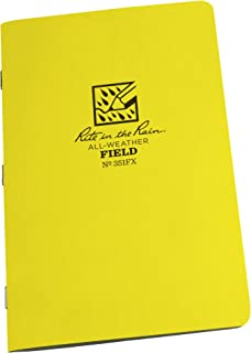 "product image for Rite in the Rain Weatherproof Stapled Notebook, 4 5/8"" x 7"", Yellow Cover, Field Pattern, 3 Pack (No. 351FX)"
