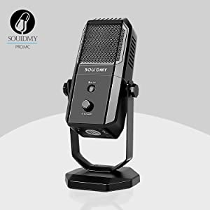 SOUIDMY USB Microphone, Desktop Recording Microphone Computer Podcast Condenser Cardioid Mic for PC Laptop Mac with Mute Button & Headphone Jack for Vocals, YouTube, Streaming Broadcast, Podcasting