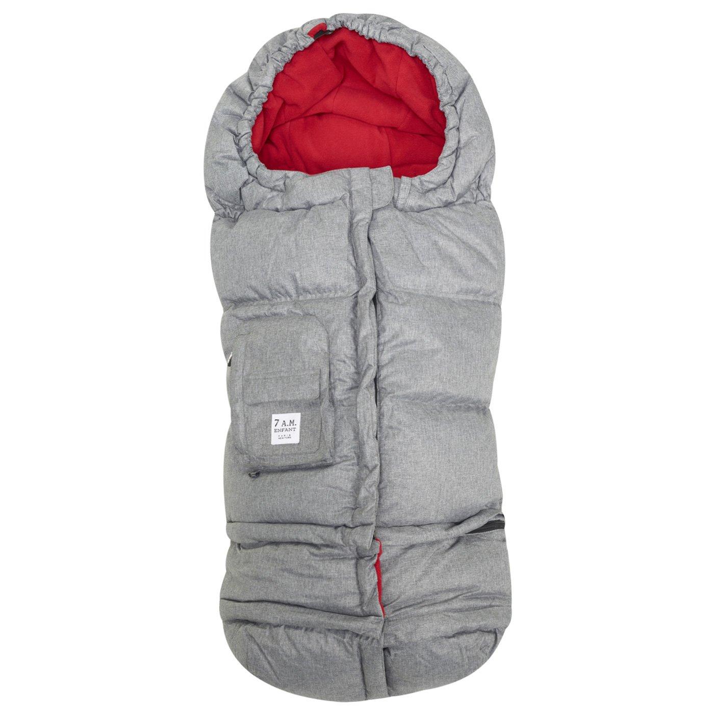 7 A.M. Enfant Blanket 212 Evolution Footmuff-Heather Grey with Red Fleece Lining