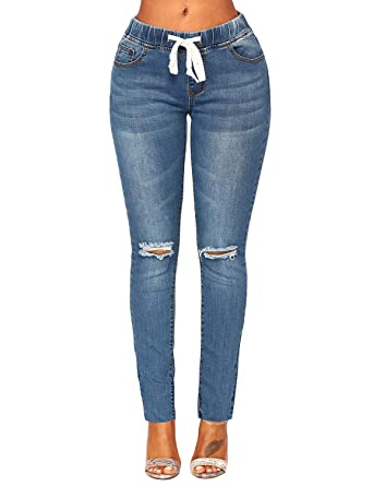 8f049a637f1b97 ACKKIA Women's Elastic Waist Skinny Stretch Ripped Distressed Denim Jeans  Pants at Amazon Women's Jeans store