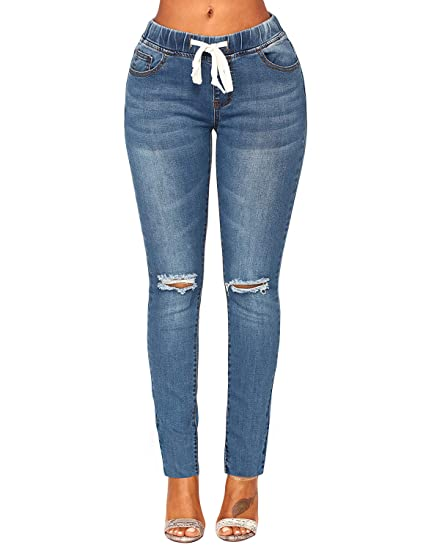 558b2e573d ACKKIA Women's Elastic Waist Skinny Stretch Ripped Distressed Denim Jeans  Pants