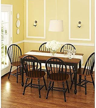 Amazon Com Better Homes And Gardens Autumn Lane 7 Piece Dining Set Black And Oak Table Chair Sets