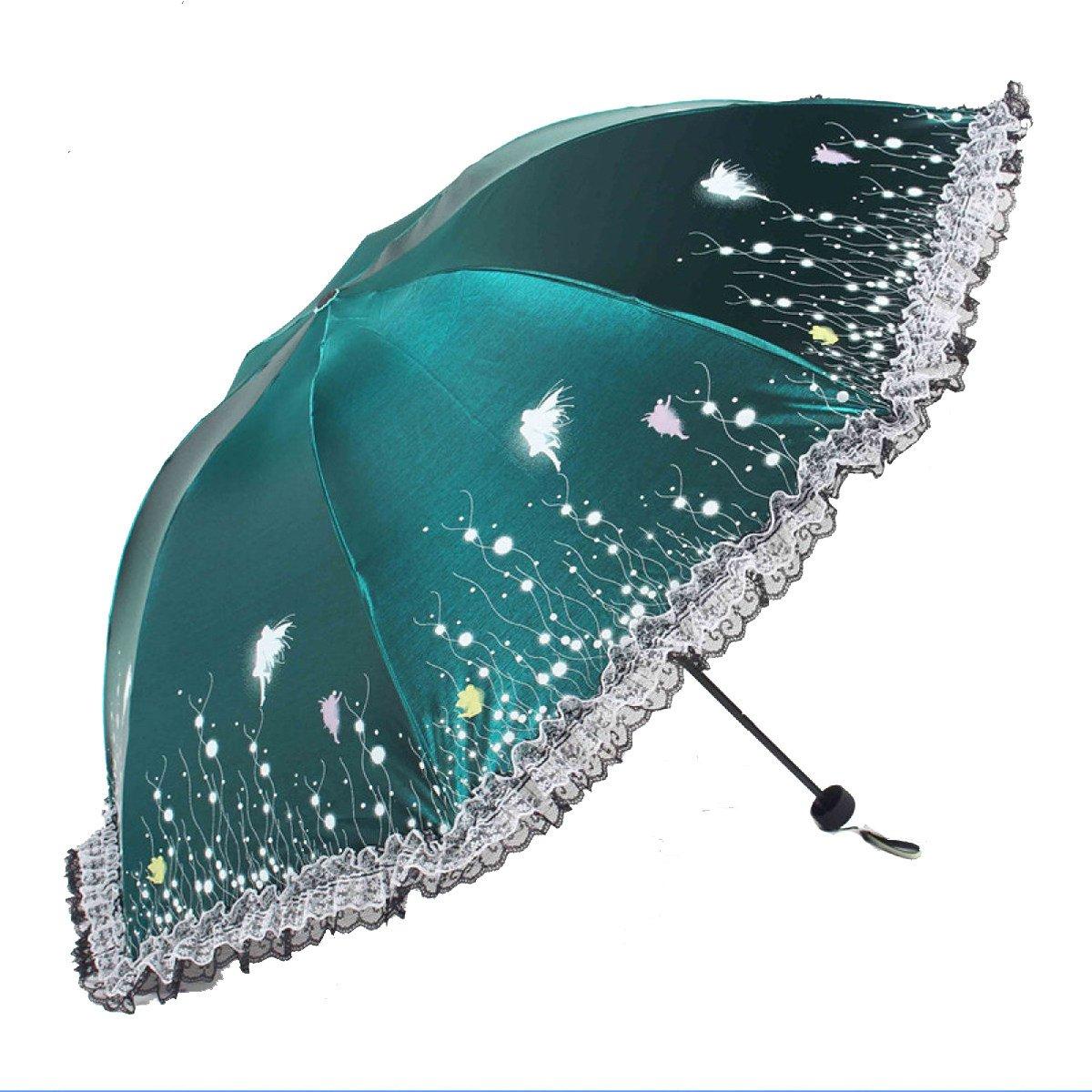 Luna Debajo De La Mariposa Plegable Decoloración Flash Vinilo Súper Sol Paraguas,FreshGrassGreen: Amazon.es: Jardín