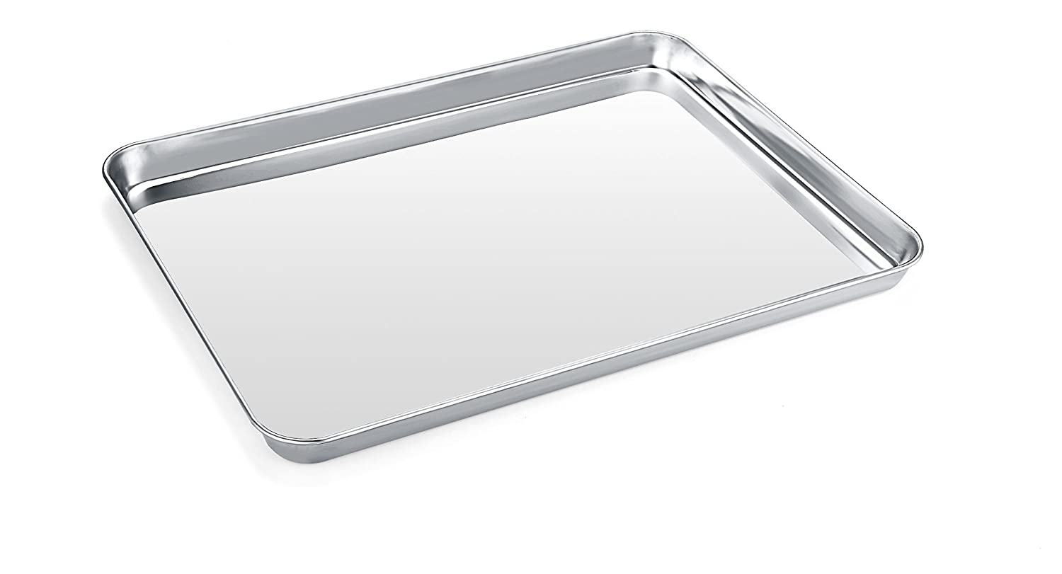 Baking Sheet, Zacfton Stainless Steel Cookie sheet Toaster Oven Tray Pan Rectangle Size 16 x 12 x 1 inch, Non Toxic & Healthy,Superior Mirror Finish & Easy Clean, Dishwasher Safe