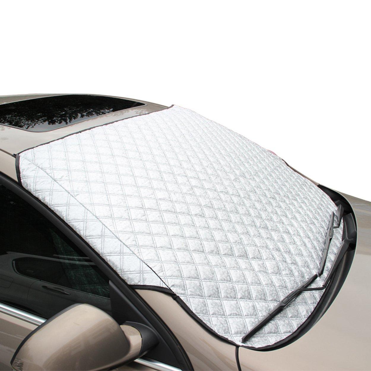 FREESOO Parasol de Coche Protector de Parabrisas Cubierta de Nieve y de Sol Antihielo Funda de Parabrisa Delantero Universal para Coche Plegable