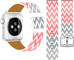 Cisland Bands Compatible with Iwatch 40mm/38mm Leather Strap Compatible with Apple Watch Series 1/2/3/4/5/6/SE Sport & Edition Colorful Creative Cute Personalized Colorful Striped Pattern Design