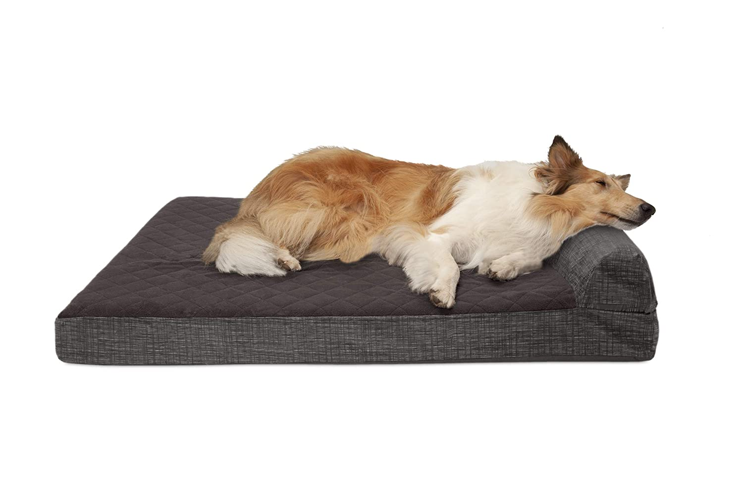 FurHaven Pet Dog Bed   Cooling Gel Memory Foam Orthopedic Quilted Fleece & Print Suede Lounge Pet Bed for Dogs & Cats, Espresso, Jumbo