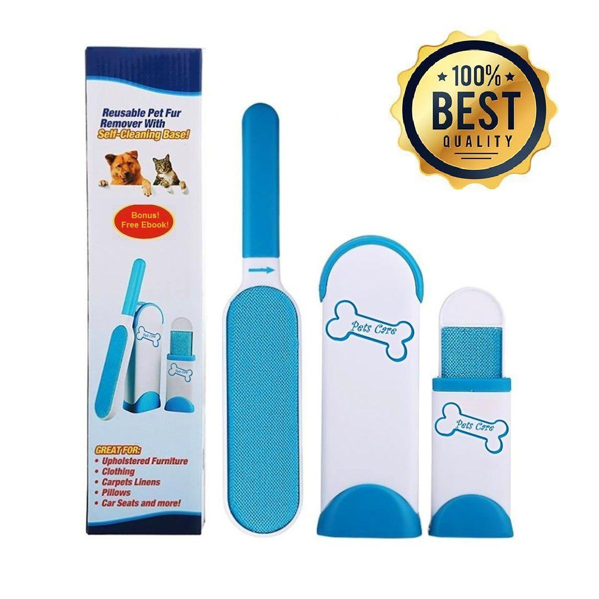 PetsCare Lint Remover and Fur Remover with Self-Cleaning Base and Double-Sided Brush Removes Dog Cat Horse and Pet Fur and Hair (FREE EBOOK) … (Blue and White)