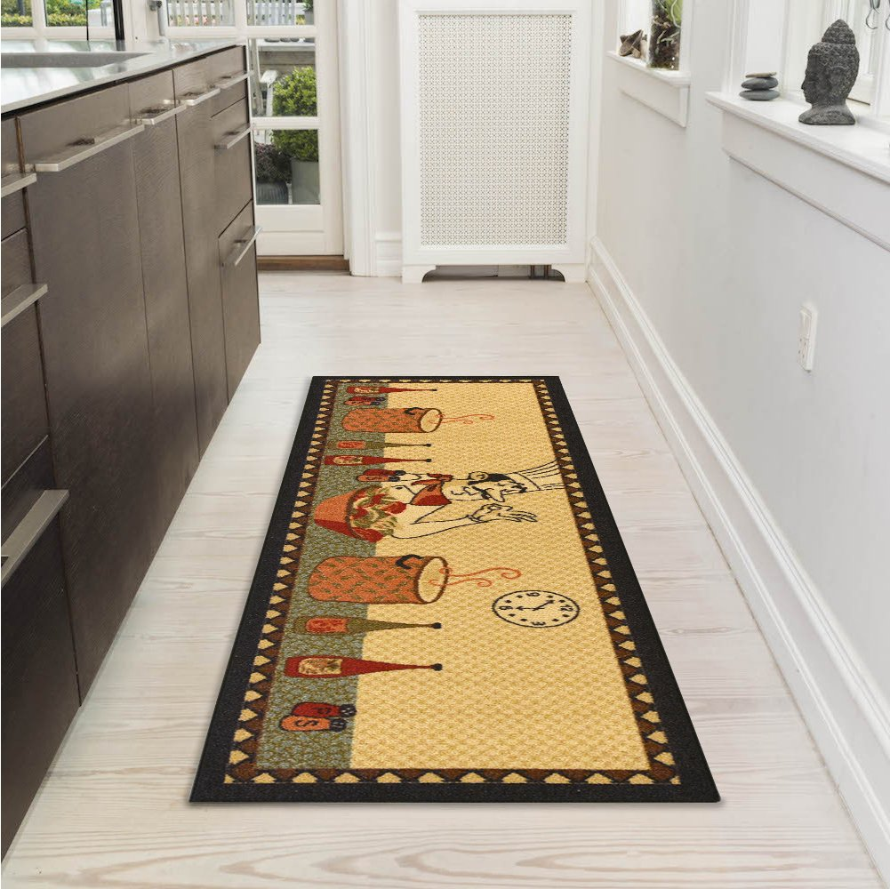 Ottomanson Siesta Collection Kitchen Fruits Design (Non-Slip) Runner Rug, 20 x 59, Beige 20 x 59 STK3092-20X59