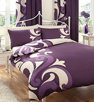 BERRY & CREAM KING SIZE DUVET SET WITH MATCHING CURTAINS: Amazon ...