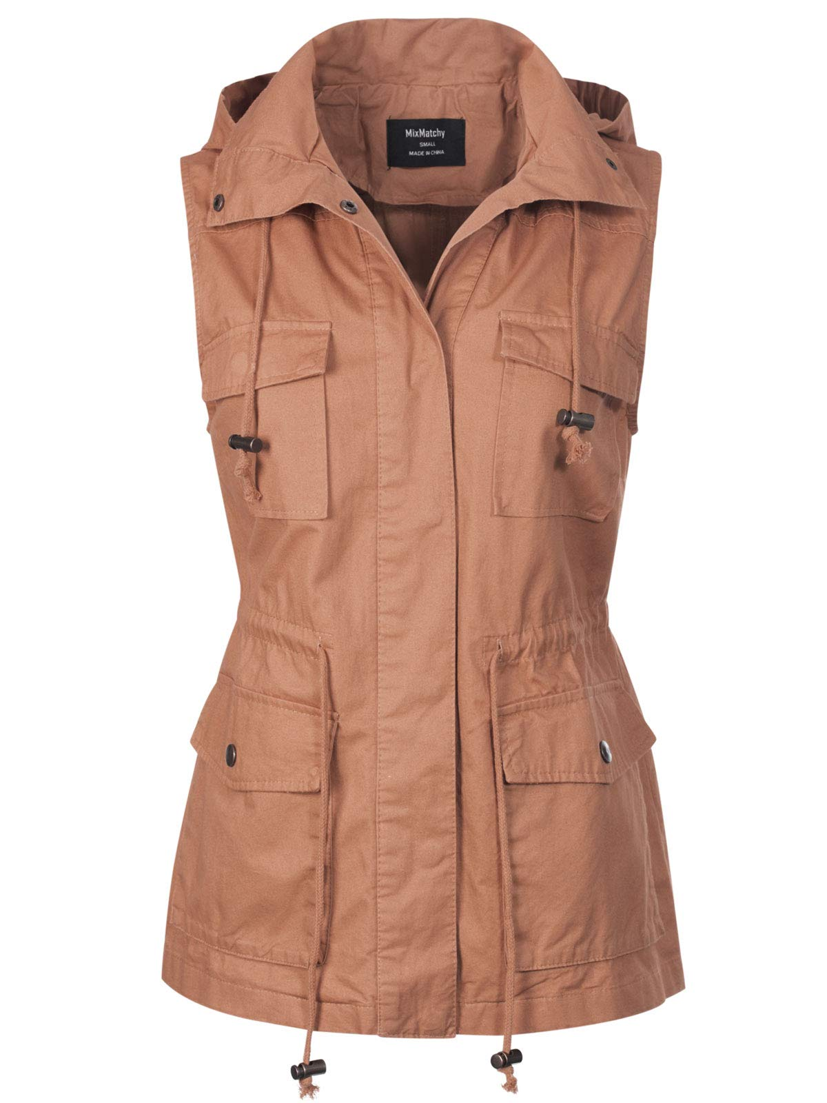 MixMatchy Women's Drawstring Lightweight Loose Fit Sleeveless Vest Utility Jacket Taupe 2XL by MixMatchy