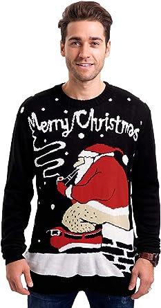 Mens New Xmas Christmas Sweatshirt Sweater Knit Crew Neck Jumper Fleece snow