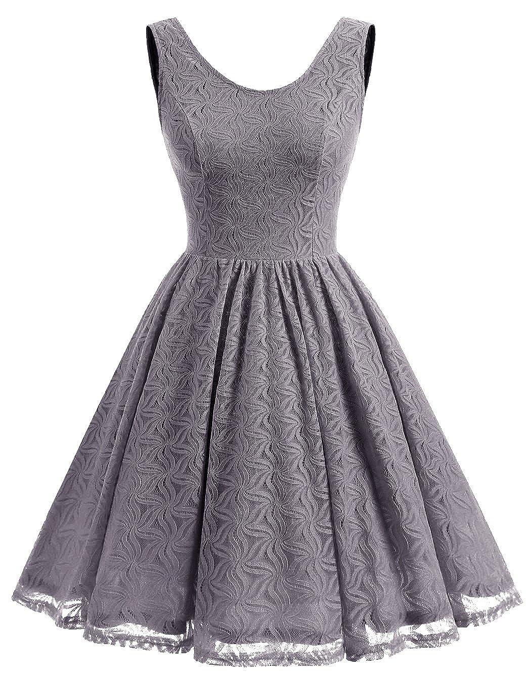fcd942d52cc26 ALAGIRLS Femme Robe de Vintage sans Manches Col Rond et V en Dos ...