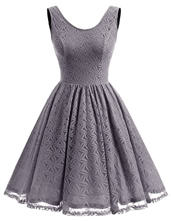 ALAGIRLS Women Floral Lace Bridesmaid Party Dress Short Prom Dress V Back Darkgrey L