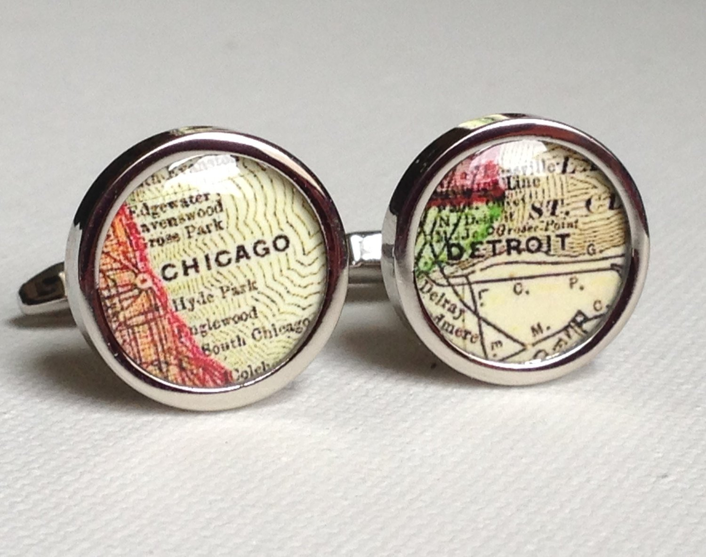 Vintage Map Of Chicago Groom Cufflink Map Cufflinks Chicago Map Cuff links Custom Maps Personalized Cufflinks Custom Wedding Cufflinks