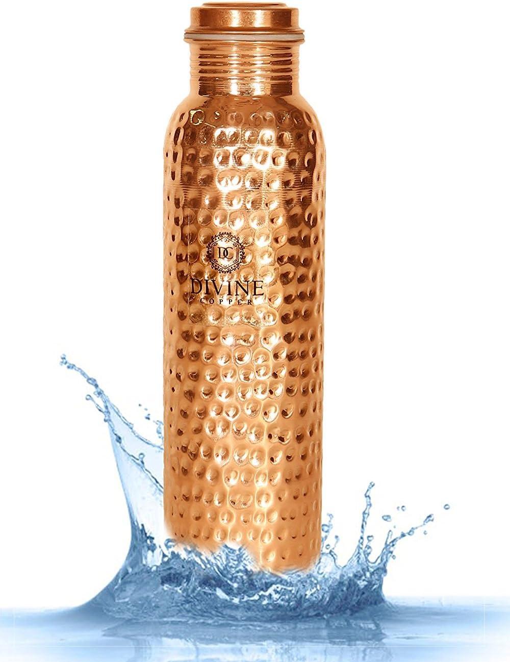 Divine 100% Pure Certified cobre metal termo potable botella de agua, Ayurveda a prueba de fugas martillo para buena salud, etiqueta libre jarra, 33.8oz