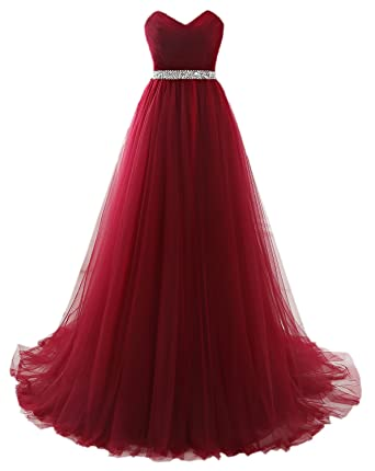 Clearbridal Womens Long Tulle Prom Dresses 2018 Burgundy Sweetheart Evening Gown