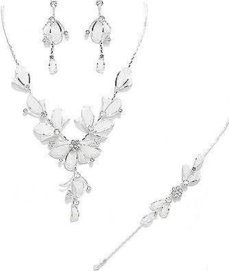 Brautschmuck Hochzeit Set Schmuckset Kette Ohrringe Armband Blumen Kristall Klar