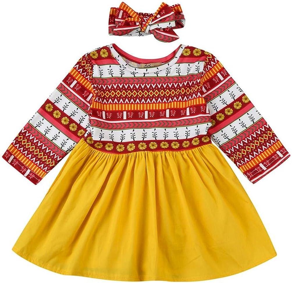 Amlaiworld Baby Blumen Geometrisch Druck Langarm Kleider M/ädchen bunt Flickwerk Stirnband Kleidung,0-24Monate