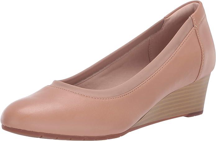 Clarks 女士坡跟真皮皮鞋