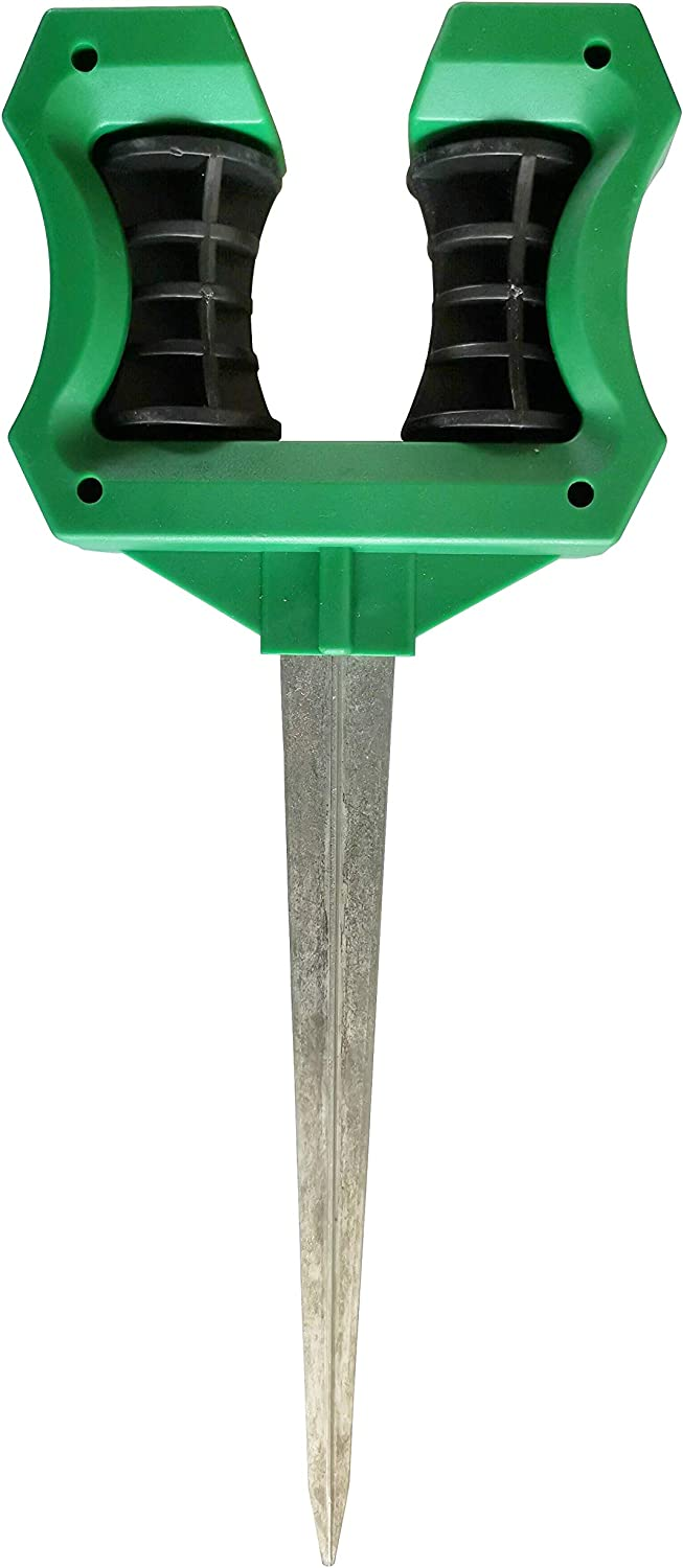 Water Hose Guide Holder Spike Stand (4 Pack) - Garden Plant Saver Caddy Tool with Stake Support for Lawns, Yards, and Gardens - Easy Reel Design with Heavy Duty Long Zinc Coated Metal Stake