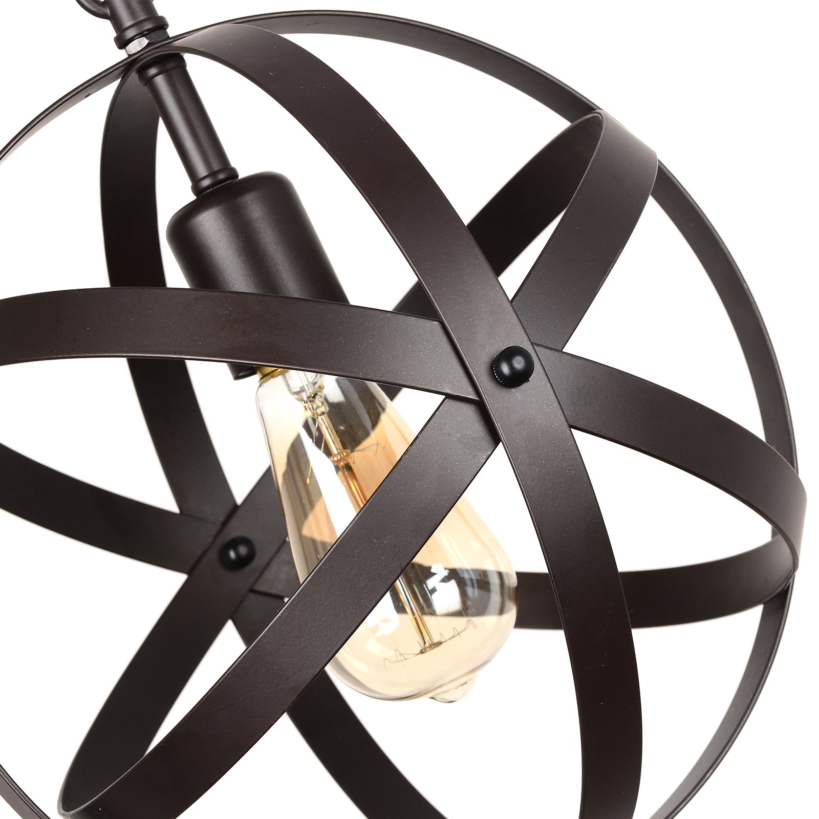 Creatgeek Industrial Globe Chandelier with 15 Ft Plug in Cord, Metal Hanging Chain and On/Off Dimmer Switch, Perfect Vintage Oil Rubbed Bronze Orb Swag Pendant Lights for Home Decor by Creatgeek (Image #6)